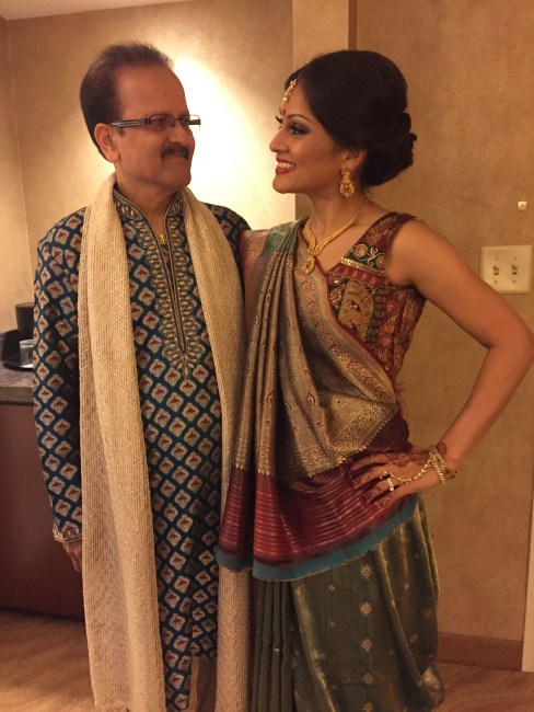 Brides sister and father before Hindu wedding ceremony