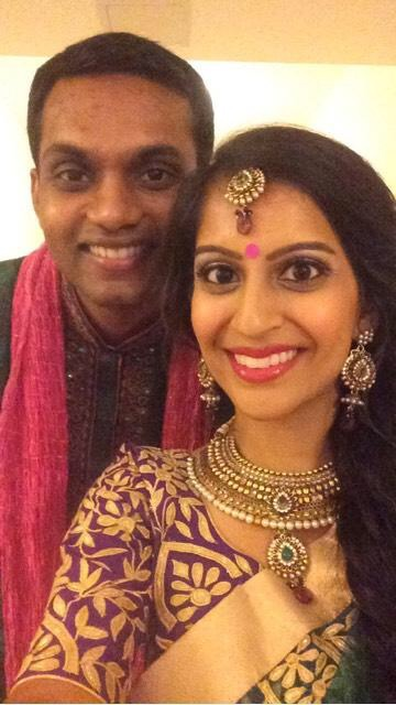 Indian bride and groom before their garba program