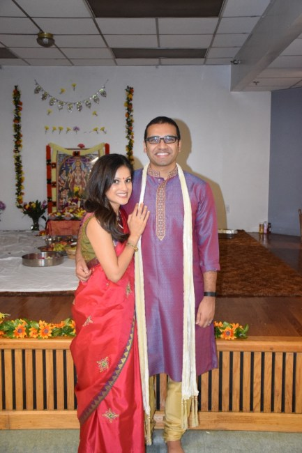 Sister and brother-in-law at newlywed Indian pooja