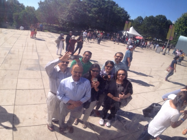 Family picture at The Bean in Chicago, IL