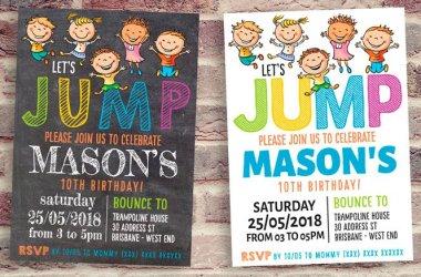 JUMP! Chalkboard Trampoline Party Invitation