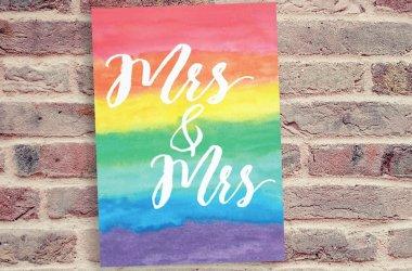 Mrs & Mrs Rainbow Lesbian Wedding Invitation