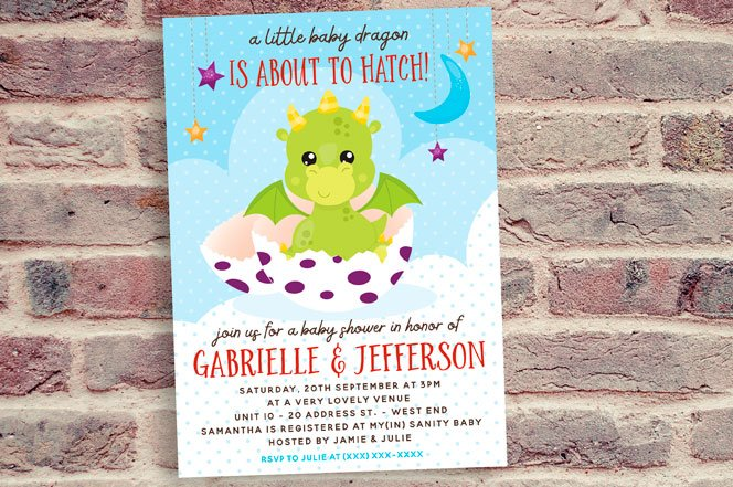 Dragon Baby Shower Invitation