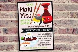 Kawaii Sushi Party Invitation