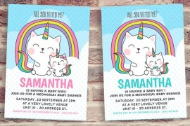 Cat Unicorn Baby Shower Invitation