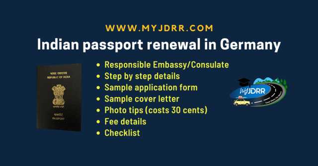 Indian passport renewal in Germany - Complete process, sample application form