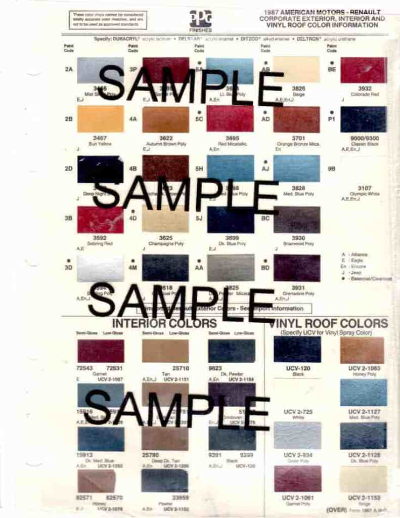 1987 Jeep Paint Color Chips
