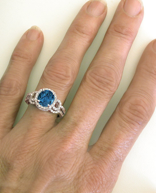 Checkerboard Faceted London Blue Topaz And Diamond Halo