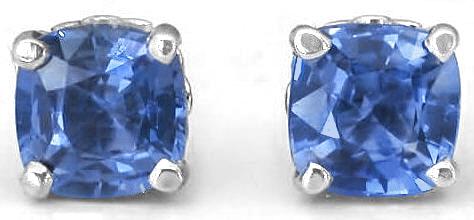 5mm Cushion Cut Ceylon Blue Sapphire Stud Earrings GE 5097