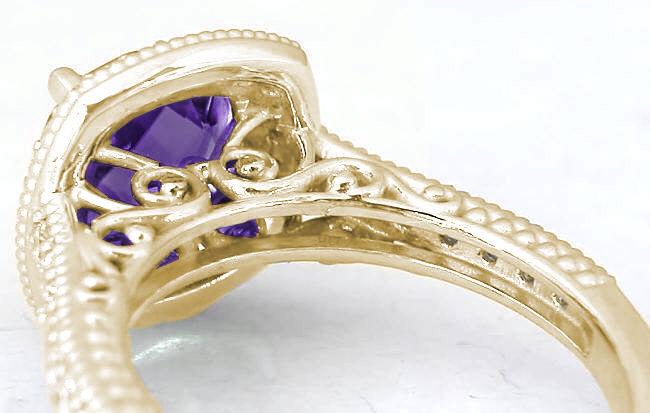 Cushion Cut Amethyst Diamond Halo Engagement Ring And