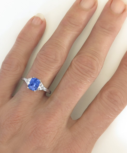 Cushion Sapphire Ring With White Sapphires BR 108