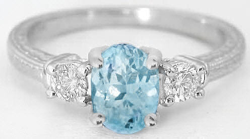 Aquamarine And Diamond Ring With Vintage Engraving In 14k