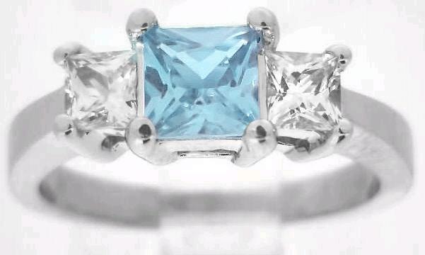 Princess Cut Aquamarine Engagement Ring Without Diamonds With Matching Contoured Wedding Band