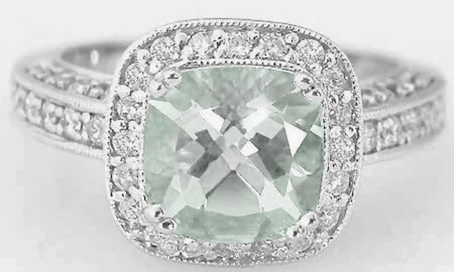 Cushion Cut Green Amethyst Diamond Engagement Ring With