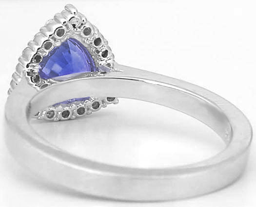 Trillion Tanzanite Ring With A High Polish Band In 14k