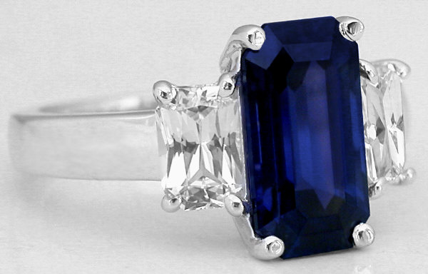 Natural Sapphire And White Sapphire Three Stone Ring BR 103