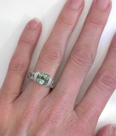 Unique Green Amethyst Diamond Bridge Engagement Ring In
