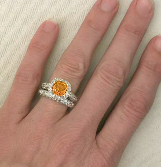 Cushion Cut Citrine And Diamond Halo Engagement Ring And