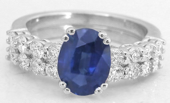 Natural Blue Sapphire And Diamond Engagement Ring In 14k