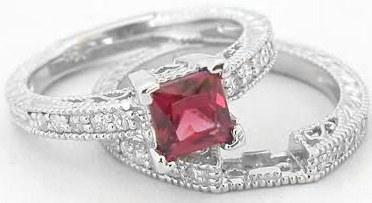 Princess Cut Rhodolite Engagement Ring With Matching Band