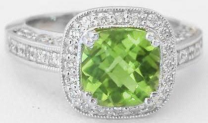 Cushion Cut Peridot And Diamond Engagement Ring And