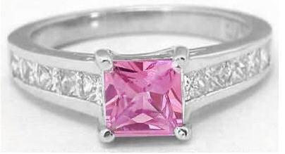 Princess Cut Engagement Ring With Princess Cut Pink