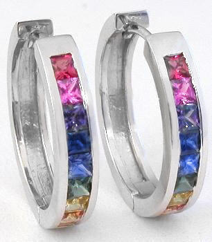 Princess Cut Rainbow Sapphire Hoop Earrings In 14k White