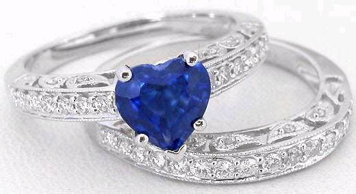 Heart Shape Ceylon Sapphire And Paisley Design Diamond Ring With Matching Wedding Band Gr 5218