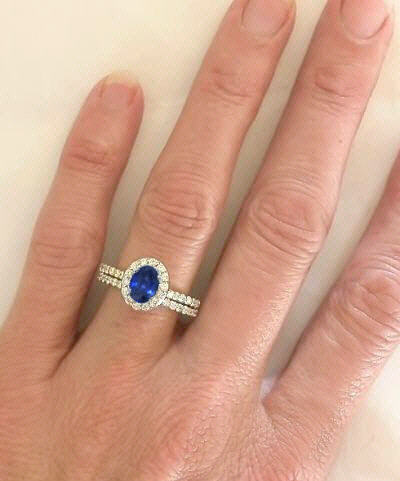 Oval Sapphire Diamond Halo Engagement Ring With Matching