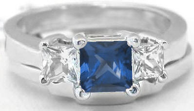 Three Stone Princess Cut Sapphire Engagement Ring With