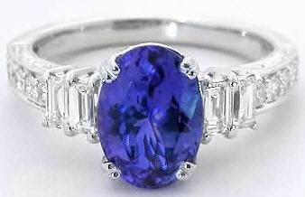 Tanzanite Baguette Diamond Ring In 18k White Gold Gr 7065