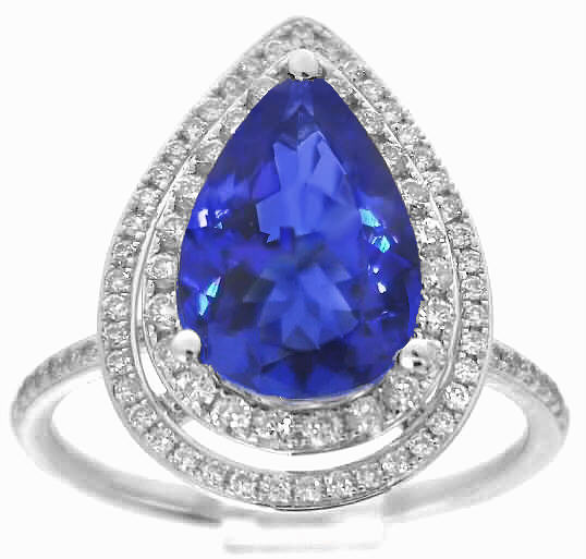 Pear Shape Tanzanite Engagement Rings In 14k White Gold