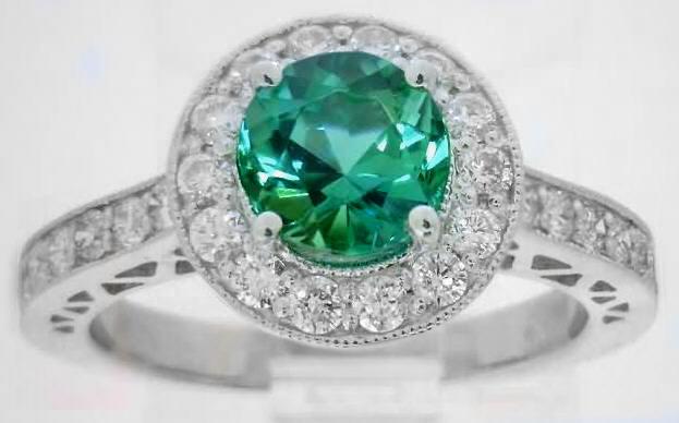 Round Seafoam Tourmaline And Diamond Halo Engagement Ring