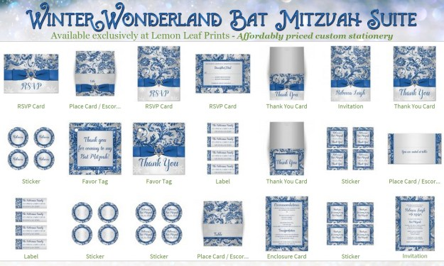 Royal Blue Silver Winter Wonderland Bat Mitzvah Invitation Stationery Suite