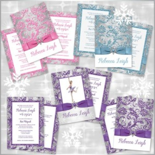 Winter Wonderland Bat Mitzvah Invitation Set Color Options