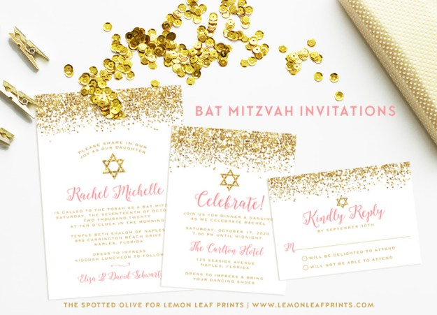 Pink and Gold Glitter Bat Mitzvah Invitation Suite