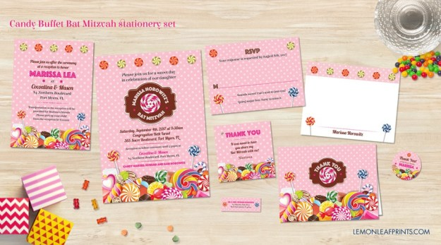 Candy Bat Mitzvah Invitation Stationery Set