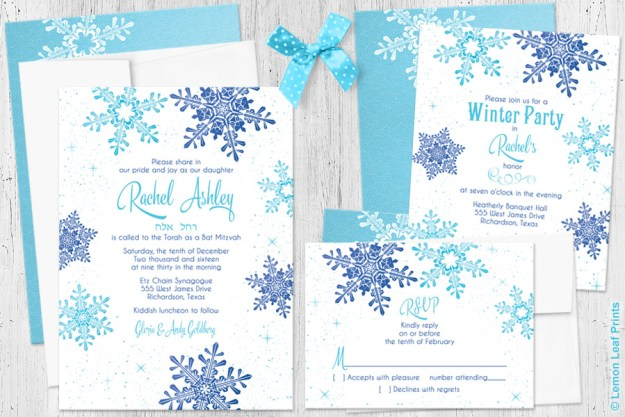 Winter Wonderland Snowflake Bat Mitzvah Invitation Set