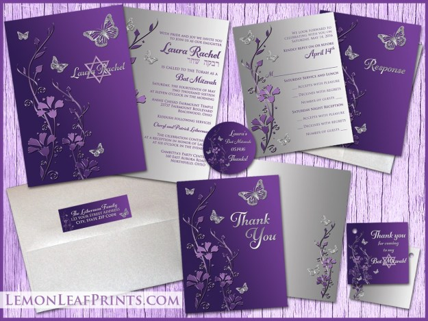 Silver Purple Butterfly Bat Mitzvah Invitation Suite