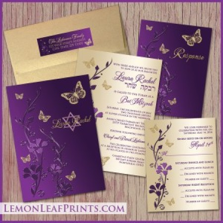 Bat Mitzvah Purple Gold Butterfly Invitation Set