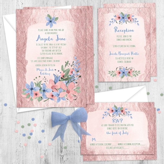 Pink and blue floral Bat Mitzvah invitation set