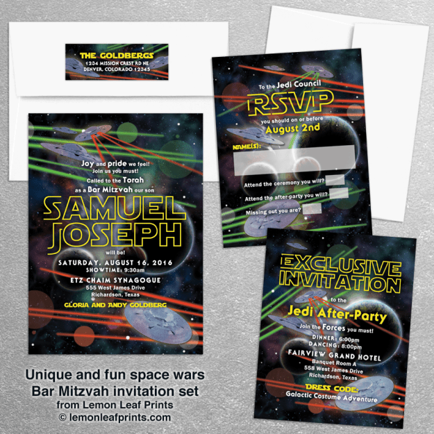 Space Video Game or Star Wars Bar Mitzvah Invitation Set