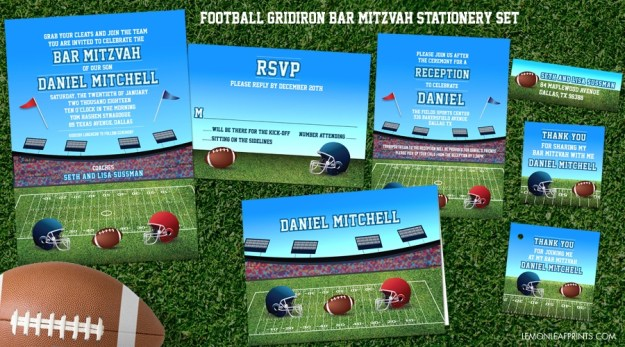 Football Bar Mitzvah Invitation Set