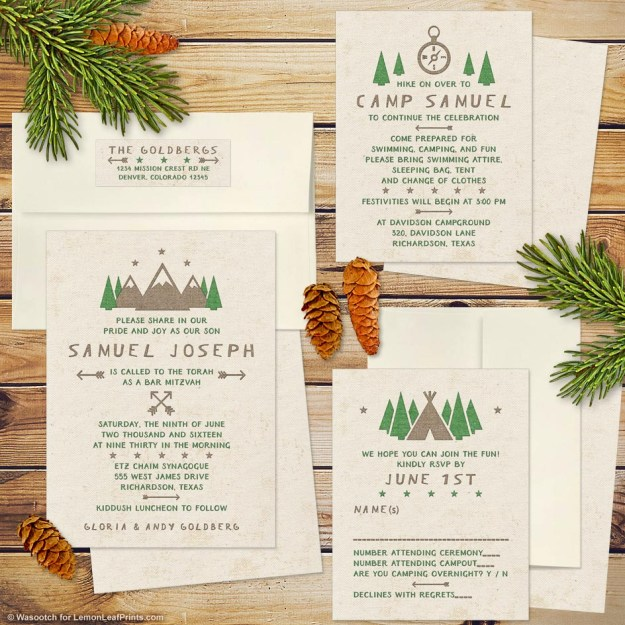 Campground Camping Bar Mitzvah Invitation Set