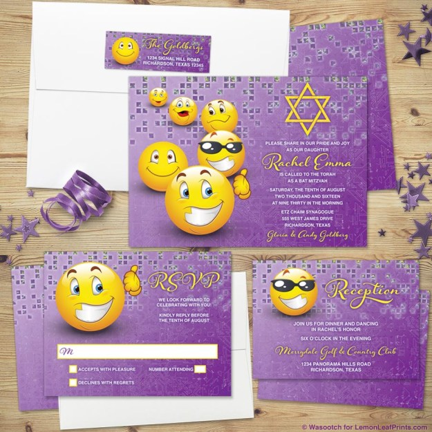 social media emoji Bat Mitzvah invitation set