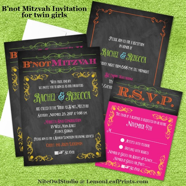 Neon chalkboard B'not Mitzvah Invitation Set