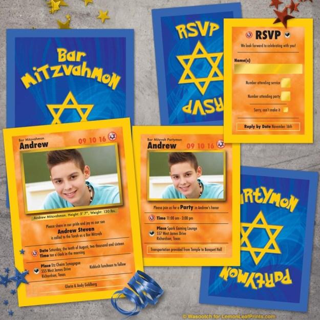 Pokemon Bar Mitzvah Invitation Set