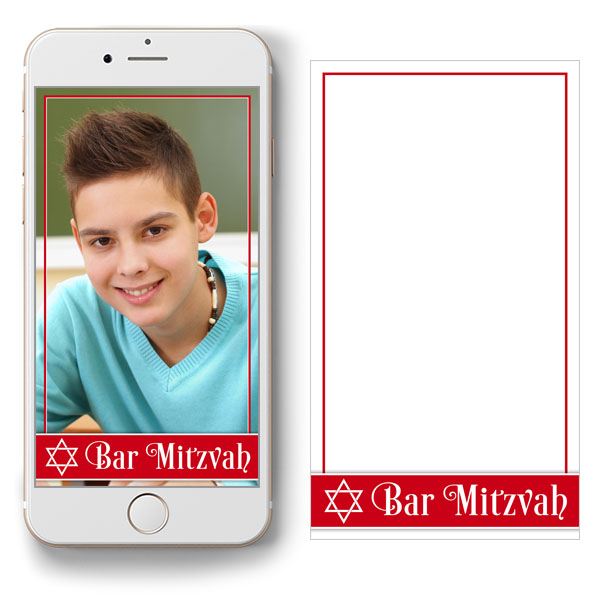 free red and white Bar Mitzvah Snapchat geofilter
