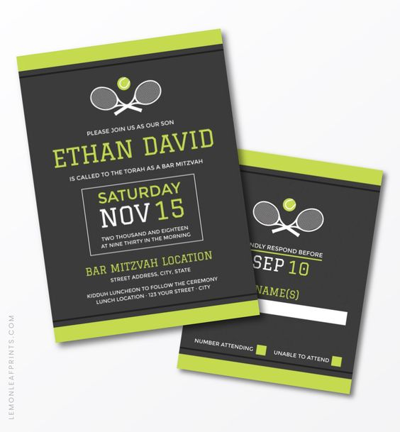Green Grey White Modern Tennis Bar Mitzvah Invitation and RSVP Card