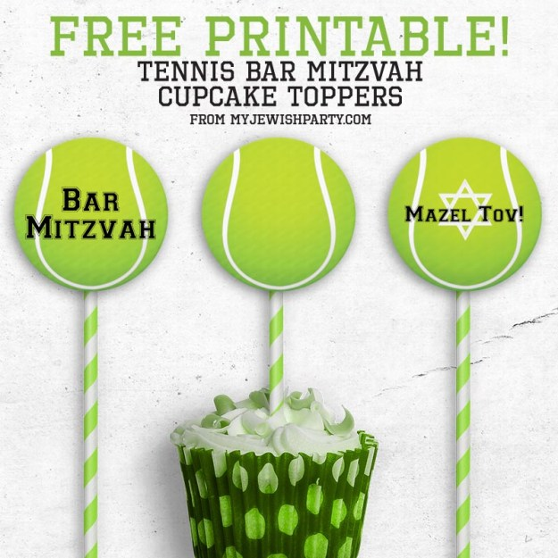 free printable basketball Bar Mitzvah cupcake toppers mockup